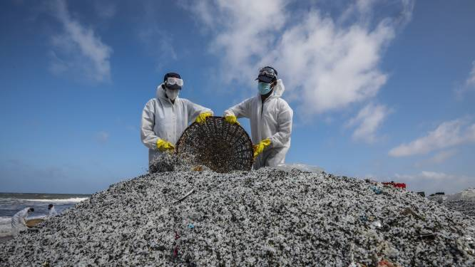 Sri Lanka eist 40 miljoen dollar schadevergoeding voor uitgebrand vrachtschip, al 1.200 ton aan plastic korrels en ander afval verzameld