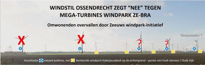 Windstil Ossendrecht wil geen 5, geen 3, maar slechts 1 windmolen van het ZE-BRA-windpark in de eigen polders toestaan. De twee oostelijke turbines zijn geschrapt, Windstil wil er nog twee weg hebben en slechts één 'dorpsmolen' behouden.
