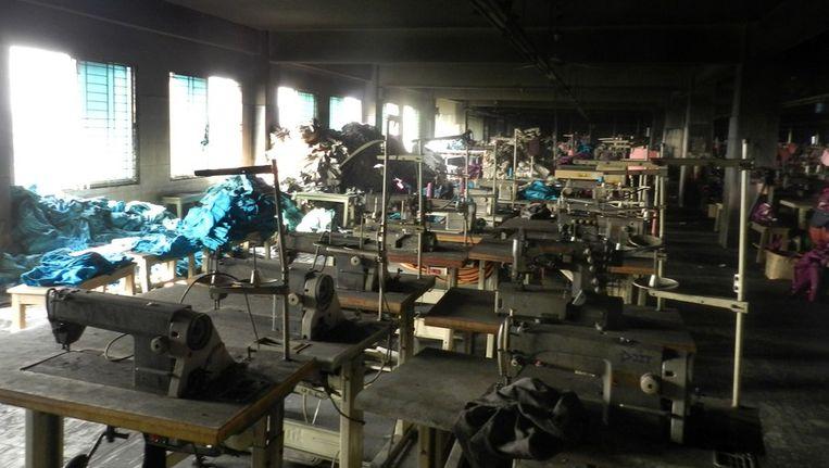 De verwoeste textielfabriek in Bangladesh. Beeld afp