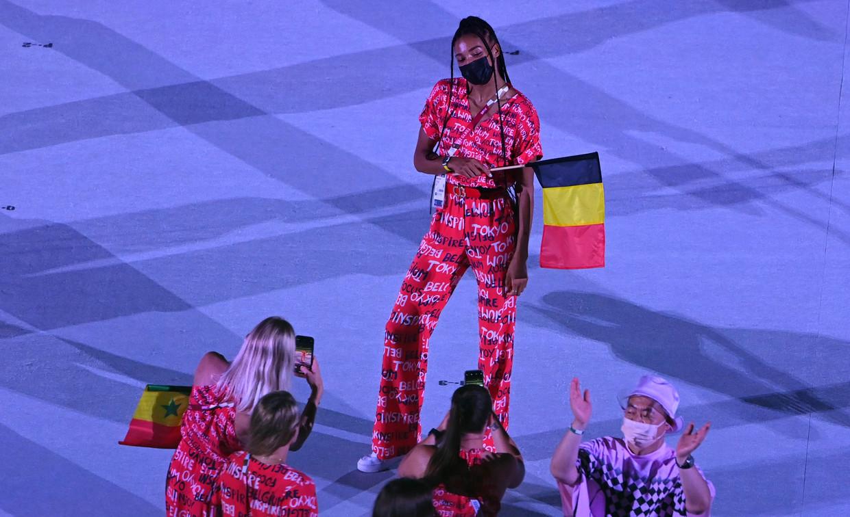 Thiam amuseerde zich op de openingsceremonie. Beeld Photo News