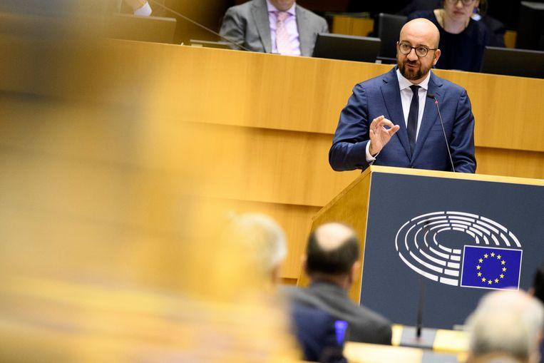Premier Michel vanmiddag in het Europees parlement.