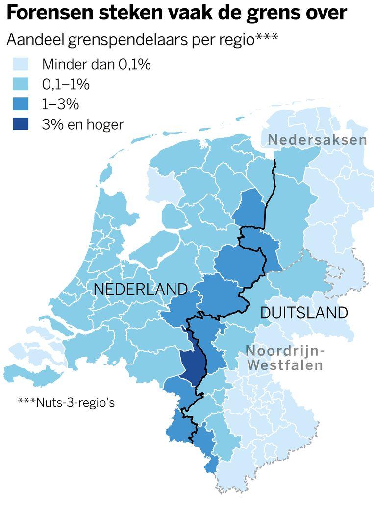 Veel Duitsers werken in Nederland en vice versa Beeld VK infographics
