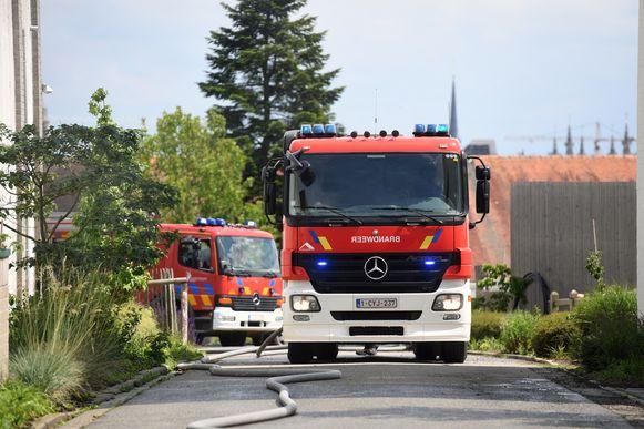 De brandweer aan de school De Wijnpers.