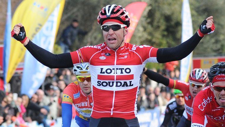 De 26-jarige Fransman Gallopin bewijst vroeg op het seizoen alweer zijn meerwaarde voor de Belgische Lotto-formatie. Beeld AFP