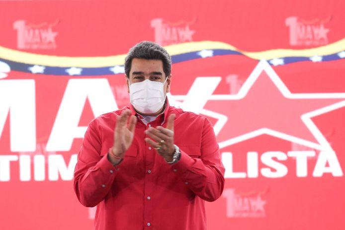 De Venezolaanse president Nicolás Maduro applaudisseert tijdens een bijeenkomst om de Dag van de Arbeid te vieren in hoofdstad Caracas. (01/05/2021)