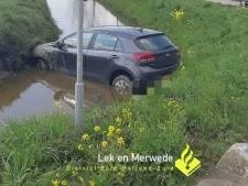 Beschonken bestuurder rijdt met auto de sloot in