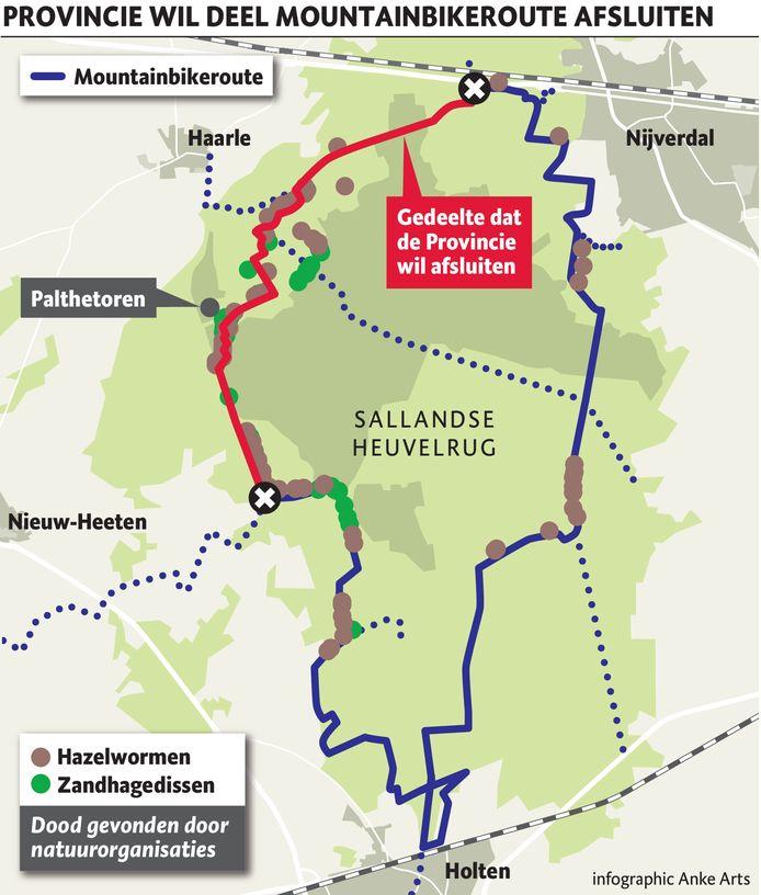 Ongeveer een derde van de mountainbikeroute op de Sallandse Heuvelrug wordt afgesloten.