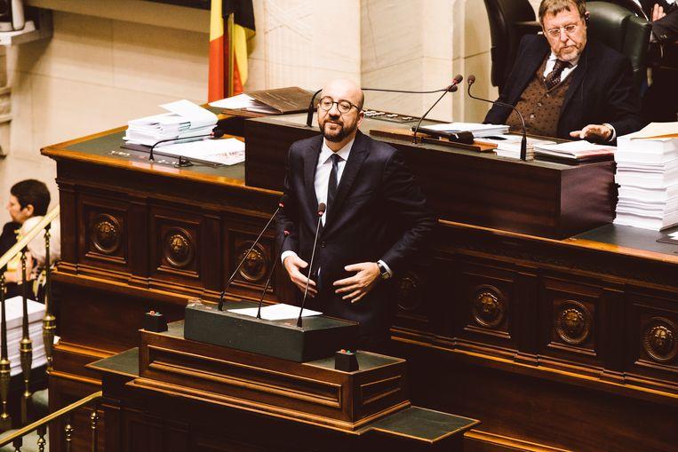 Premier Michel, wiens oproep tot samenwerking eerder vandaag niet het verhoopte gevolg had. Beeld Francis Vanhee