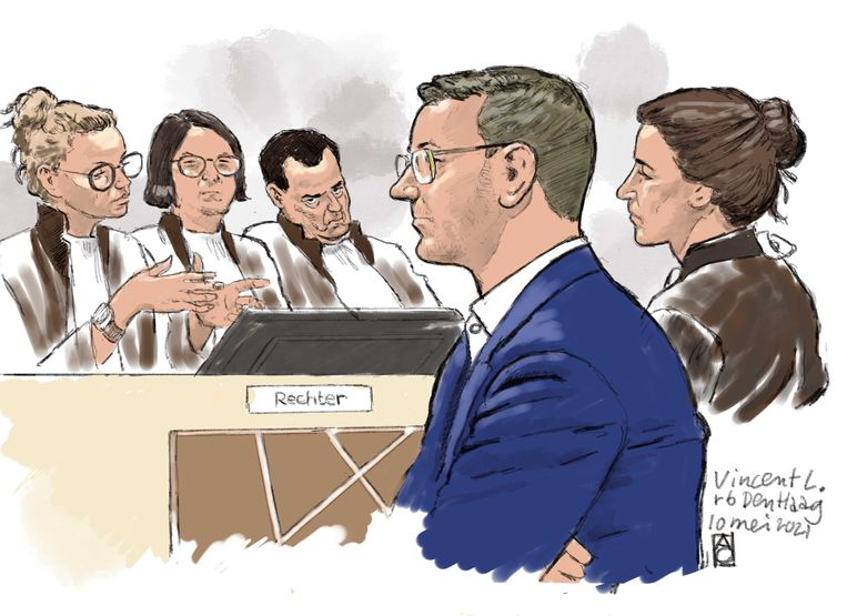 Rechtbanktekening van verdachte Vincent L. Beeld ANP