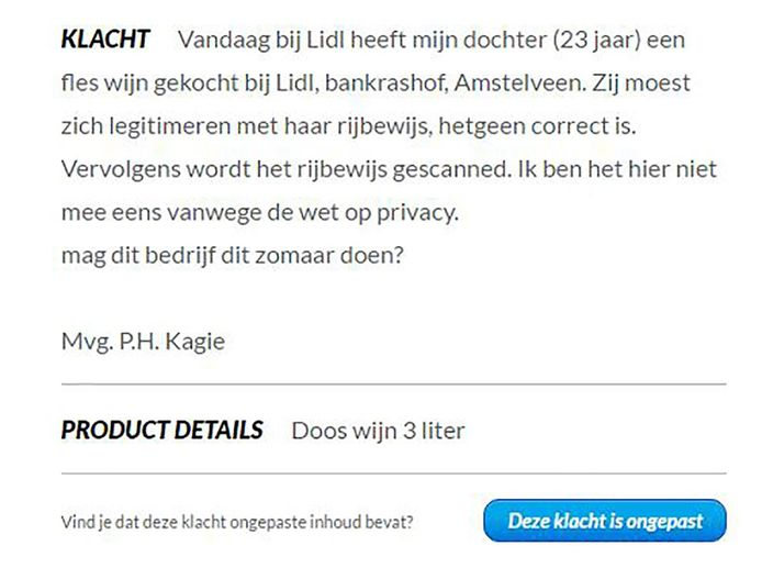 Het gebruik van ID-scanners roept vragen op bij klanten. Bij de website Klachtenkompas werd bovenstaande melding gedaan.