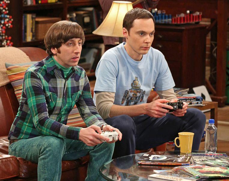 De aan games verslaafde wetenschappers van 'The Big Bang Theory'.  Beeld kos