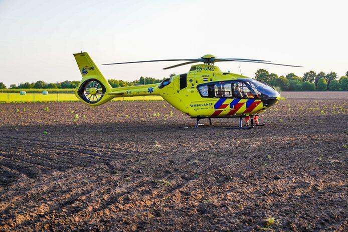 Traumahelikopter geland bij ongeval met wielrenner in Mierlo.