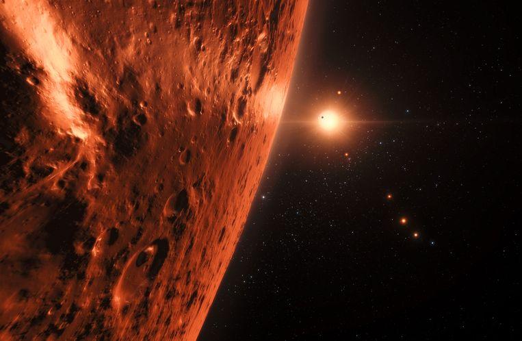 Het oppervlak van een van de planeten van TRAPPIST-1. Beeld AFP