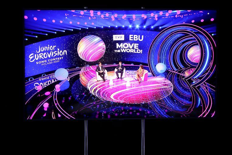 Een persconferentie over het Junior Eurovisiesongfestival in Polen. Beeld EPA
