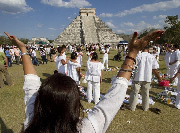 Maya's vieren het begin van het nieuwe jaar op hun kalender. Beeld ANP