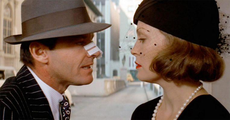 Jack Nicholson en Faye Dunaway in 'Chinatown' (1974) Beeld Pinterest