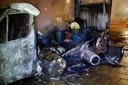 In Eindhoven brandde een vrachtwagen met drugsresten uit.