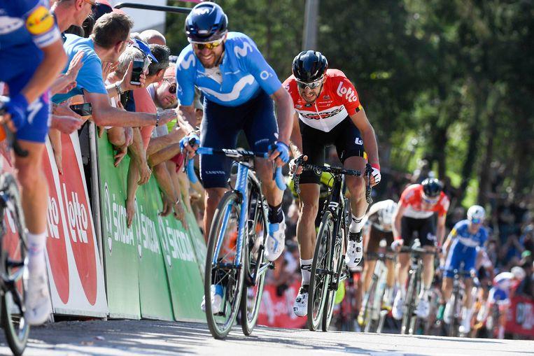 Alejandro Valverde in de Waalse Pijl: achter Julian Alaphilippe (Quick-Step), maar voor Jelle Vanendert (Lotto Soudal). Beeld Photo News