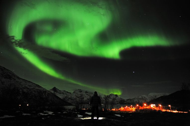 Het noorderlicht gisteravond boven Tromsö, Noorwegen. Beeld ap