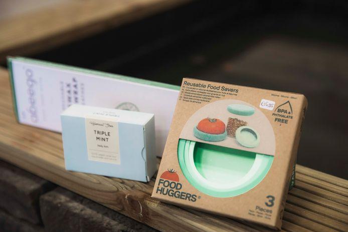 Enkele duurzame, verpakkingsvrije producten van supermarkt Klinder in Hasselt.