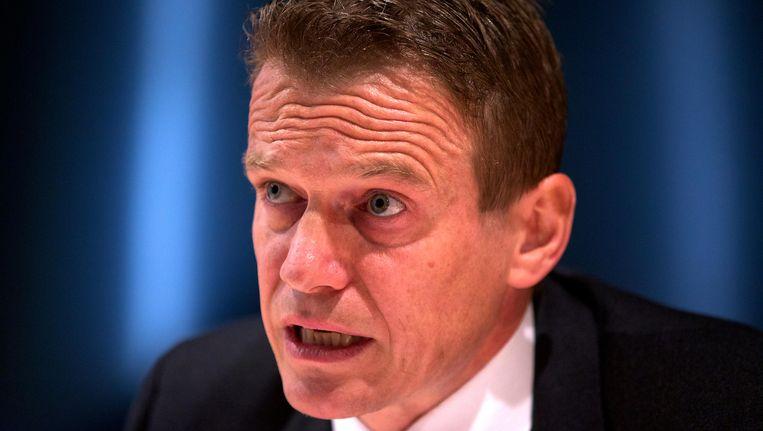 Paul Van Tigchelt, topman van het antiterreurorgaan OCAD, eerder deze week op de persconferentie. Beeld BELGA