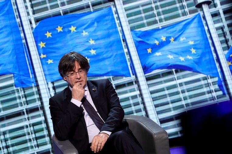 De voormalige Catalaanse minister-president Carles Puigdemont in het Europees Parlement in maart. Beeld REUTERS