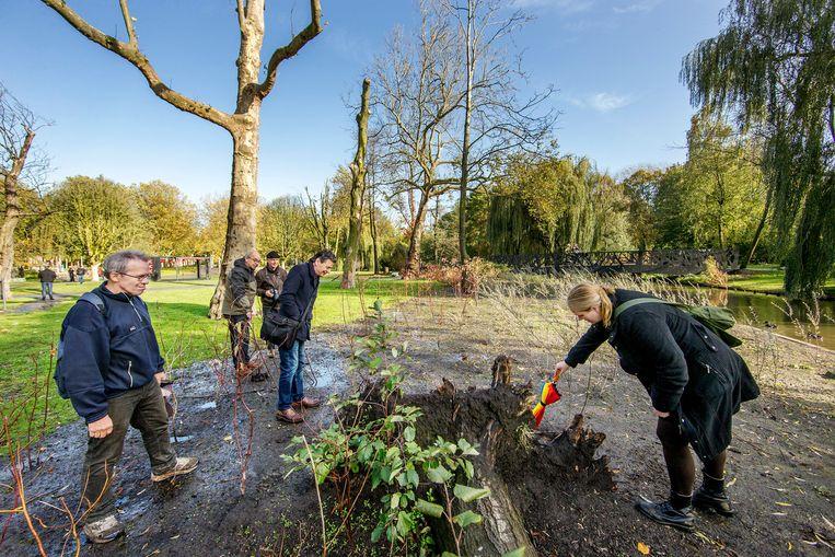 Geïnteresseerden konden in november meedoen met een informatiewandeling over de staat van het Oosterpark. Beeld Jean-Pierre Jans