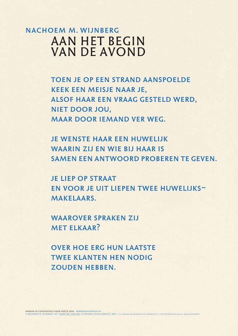 Nachoem M. Wijnbergs 'Aan het begin van de avond' is het eerste cadeaugedicht van de vernieuwde Herman de Coninckprijs. Beeld RV/ Herman de Coninckprijs