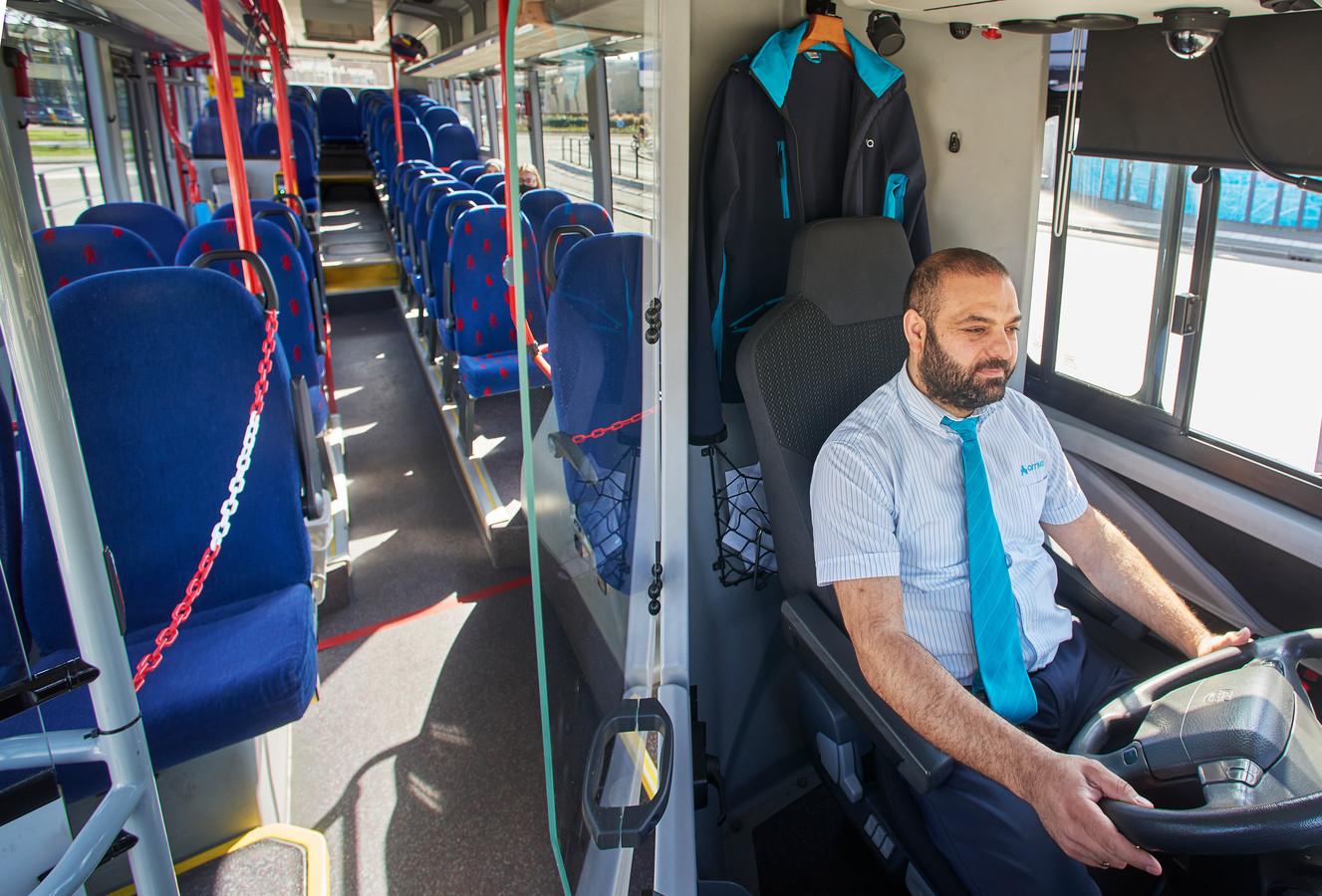 Een zo goed als lege bus, eerder dit jaar in Uden.