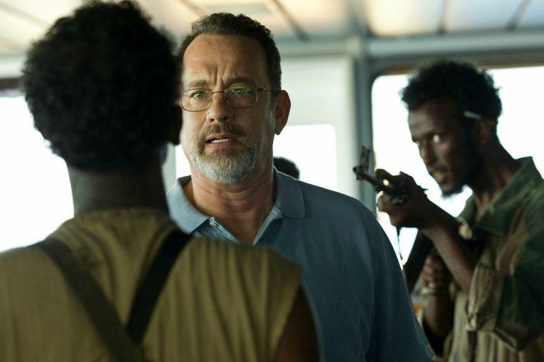 Tom Hanks, Barkhad Abdi en Mahat M. Ali in Captain Phillips van Paul Greengrass. Beeld