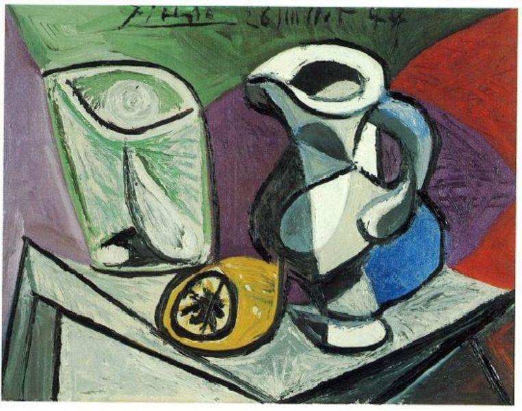 Verre et pichet van Picasso Beeld