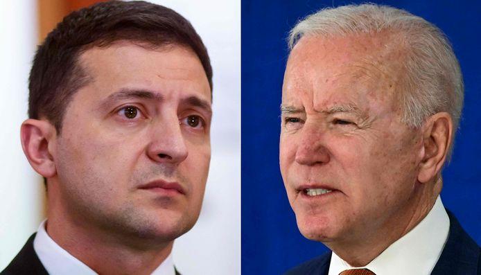 Oekraïens president Volodimir Zelenski (links) en Amerikaanse president Joe Biden (rechts).