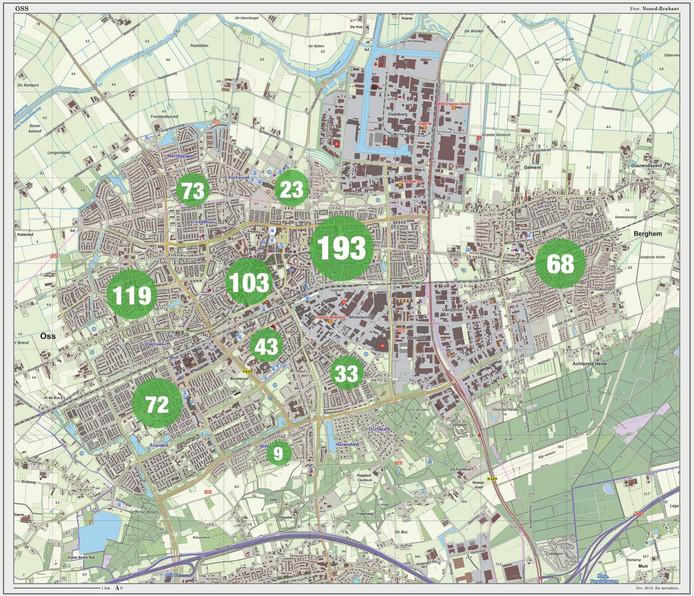 Een overzicht van het aantal meldingen per wijk van de stad.