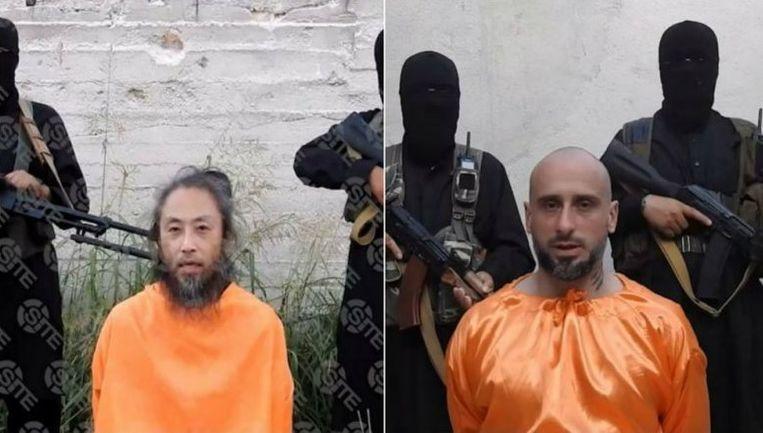 De twee mannen, de onafhankelijke Japanse journalist Jumpei Yasuda en de Italiaan Alessandro Sandrini, zijn te zien op twee verschillende, maar gelijkaardige video's. Beeld SITE