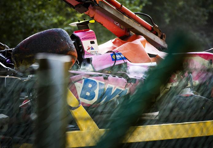 La voiture d'Anthoine Hubert après le crash.