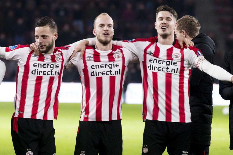 PSV-spelers Ramselaar, Hendrix en Van Ginkel Beeld anp