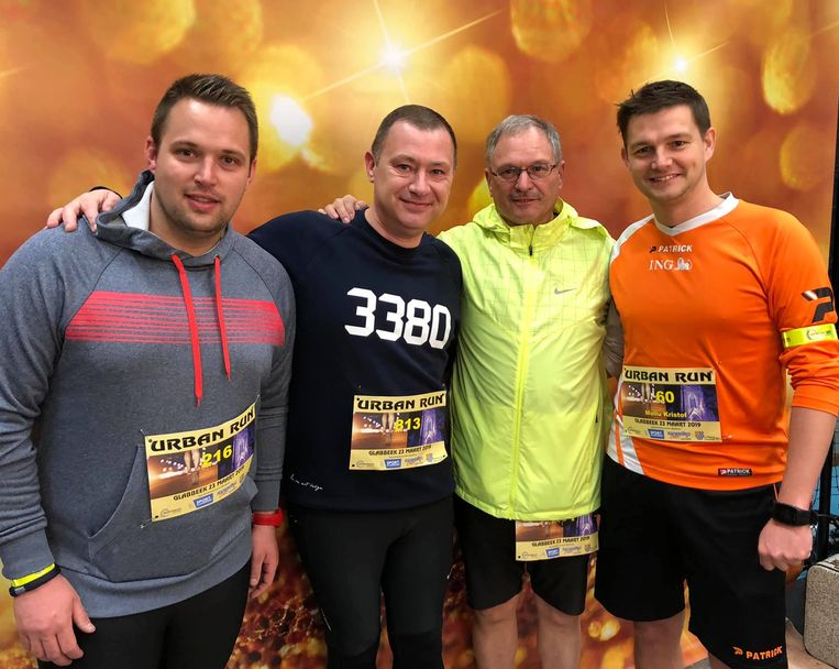 Simon, Peter, Marc en Kristof namen deel aan de Urban Run.