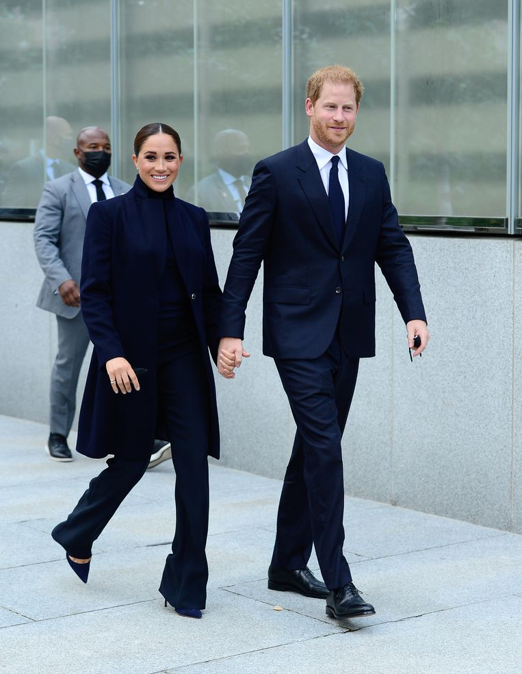 09/23/2021 Meghan Markle and Prince Harry are pictured visiting One World Trade Center in New York City. Markle wore a black turtleneck, matching jacket, and trousers. The royal couple are visiting from their home in Montecito, California.      sales@theimagedirect.com Please byline:TheImageDirect.com Beeld BrunoPress/imagedirect