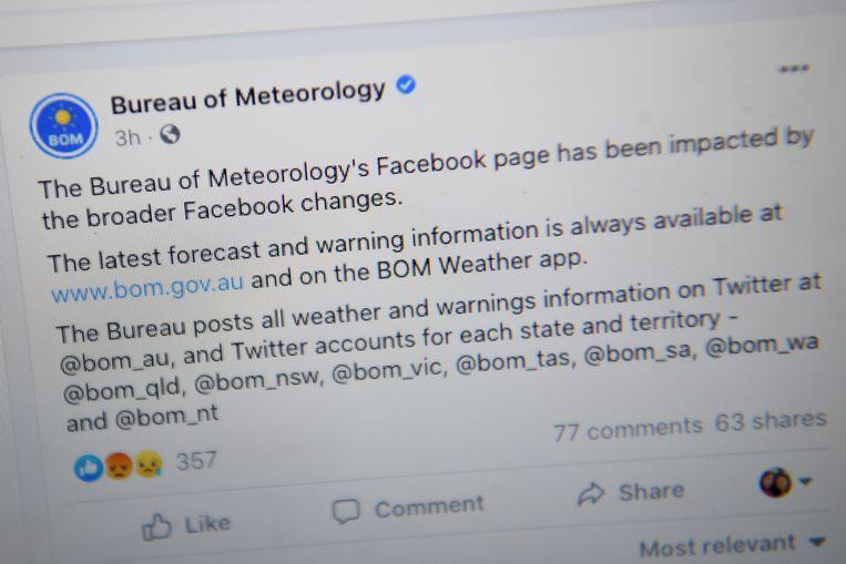 Ook de Facebookpagina van de Australische weerdienst werd geblokkeerd.   Beeld REUTERS