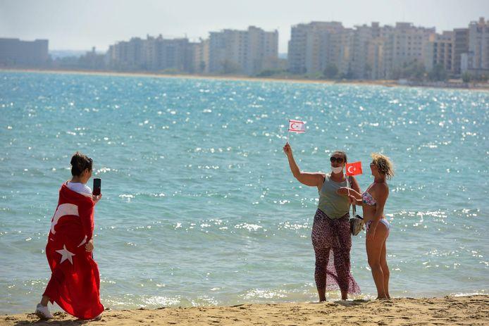 Strand in Turkije ter illustratie.