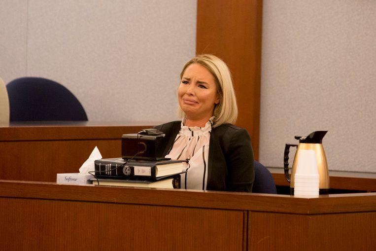 Christie Mack emotioneel in de rechtszaal in Las Vegas in maart van dit jaar.