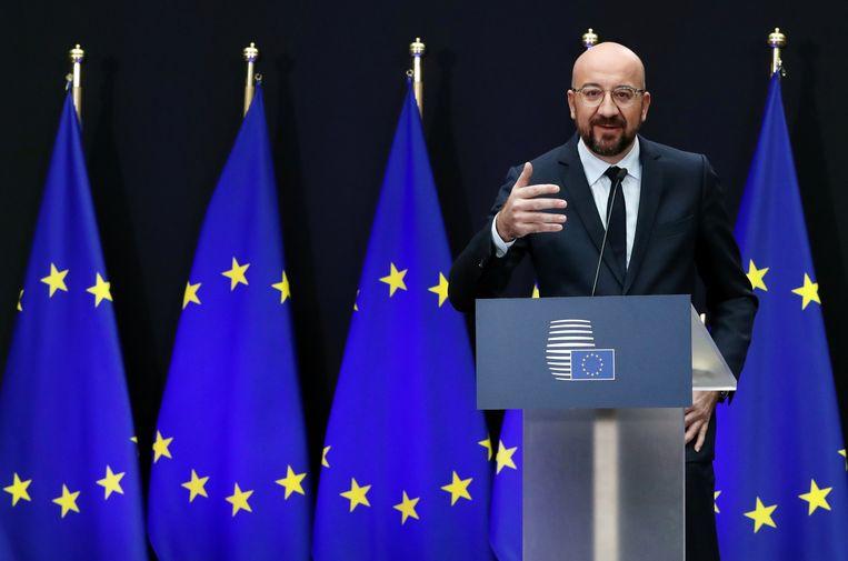 Charles Michel speecht tijdens de overdrachtceremonie als Europees president. Beeld REUTERS