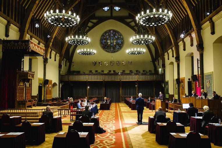 De Eerste Kamer bijeen in de Ridderzaal, het tijdelijke onderkomen gedurende de pandemie.   Beeld ANP - Sem van der Wal