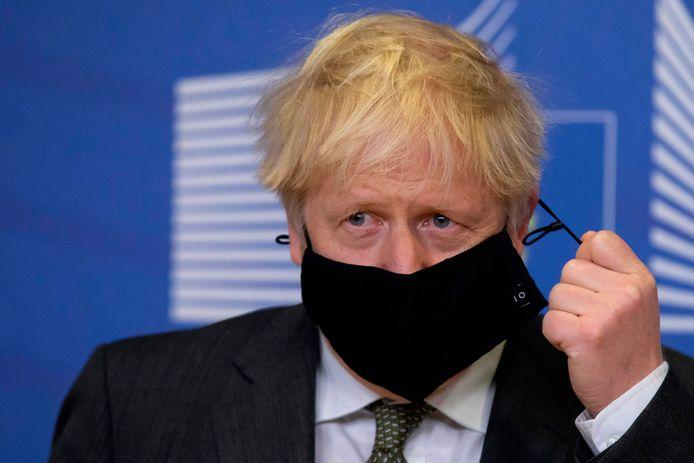Boris Johnson au siège de la Commission européenne, à Bruxelles, en décembre 2020.