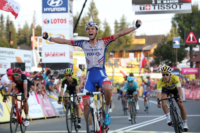Geroge Preidler bij zijn zege vorig jaar in de zesde rit van de Ronde van Polen. Bij FDJ, zijn ploeg van dat moment, is hij nu ontslagen