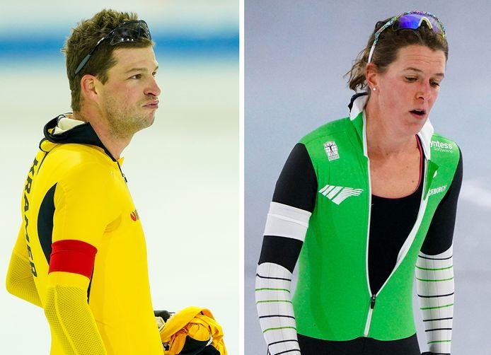Schaatsiconen Sven Kramer (links) en Ireen Wüst ontbreken morgen en zondag bij het NK allround.