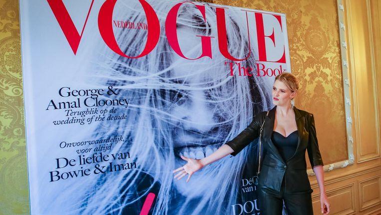 Topmodel Lara Stone bij de lancering van Vogue The Book. Beeld anp
