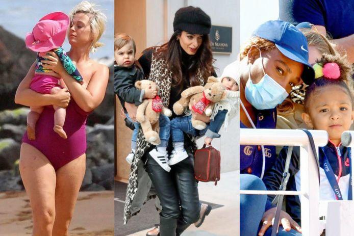 Katy Perry & haar dochtertje Daisy Dove, Amal Clooney & haar tweeling Ella en Alexander en Serena Williams & haar dochtertje Alexis Olympia Jr.