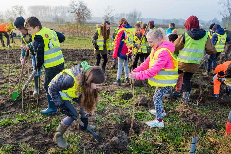 De scholieren van GBS Het Hinkelpad mochten de bosrand van het geboortbos aanplanten.