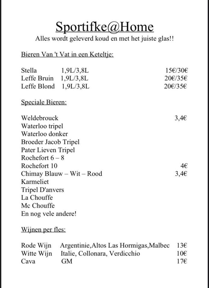De prijslijst van Café Sportifke.